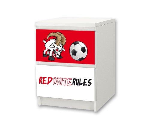 Preisvergleich Produktbild Fußball Möbelsticker / Aufkleber für Kinderzimmer Kommode / Nachtisch MALM von IKEA - FC07