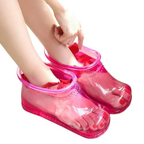 LSLMCS Massage Fußbad Schuhe, Kunststoff Foot BasinSpa Tragbare Fußmassage Bad Schuhe Eimer Stiefel Fördern Die Durchblutung for Frauen (Color : Pink) -