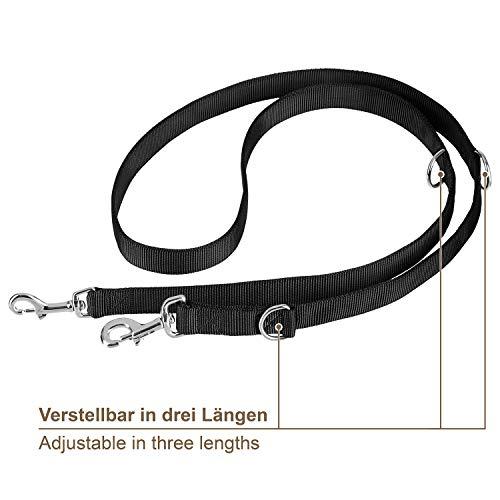 VITAZOO Premium Hundeleine in Graphitschwarz, massiv und verstellbar in 4 Längen (1,4 m – 2,1 m), für große und kräftige Hunde | Hundeführleine, Doppelleine, geflochten mit 2 Jahren Zufriedenheitsgarantie - 3