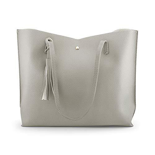 Rehao Shoppers y bolsos de hombro para mujer, Bolsos de las mujeres Bolsos de Hobo Bolsos Tote de cuero de imitación de gran capacidad monedero de la borla de compras trabajo bolsa de viaje (Gris)