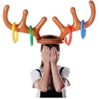 Amaone Christmas Inflatable Elk Antlers, Reindeer Xmas Dress Up Toys Ring Toss Headwear Holiday Party Decorations Fun Game for Kids Children Brown
