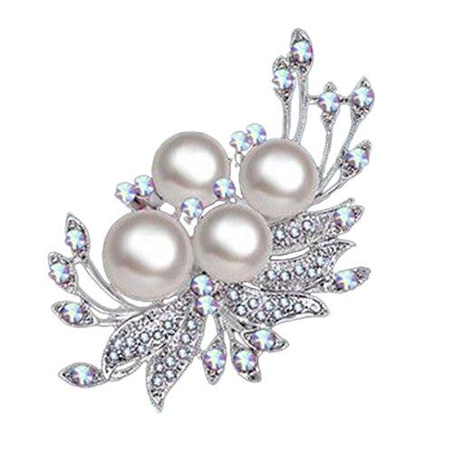 Hosaire 1x Damen Brosche Mode Narzisse Blütenform mit Weißer Perle Design Frau Hemd Broschen...