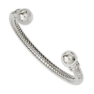 Stainless Steel Textured and Polished Cuff Bangle Bracelet