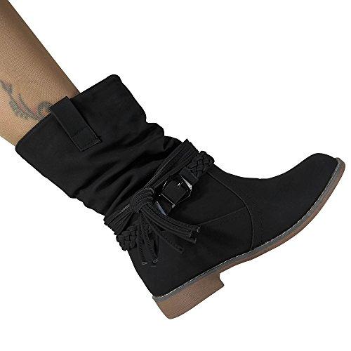 Damen Stiefel Stiefeletten gefüttert Boots Biker Schlupfstiefel ST871 Schwarz warm gefüttert