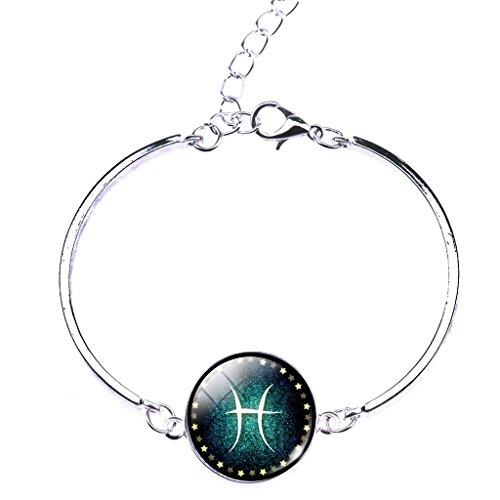 Jiayiqi Astrologie Antique 12 Constellations Verre Temps Gem Pendentif Bracelet Gourmette Des Femmes Pisces