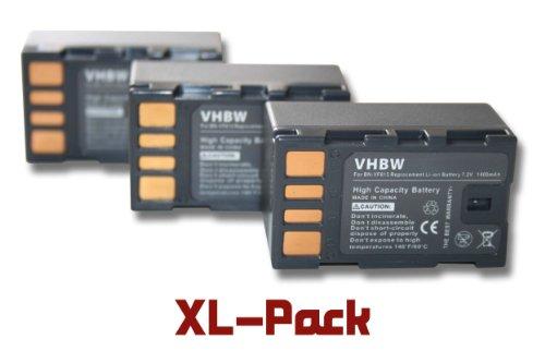 Set x3 vhbw baterías 1400mAh para videocámara JVC GZ-MS95EU GZ-MS120 GZ-MS120AEU GZ-MS120BEU GZ-MS120SEU GZ-MS130 GZ-MS130BEU GC-PX10 GC-PX10EU GS-TD1