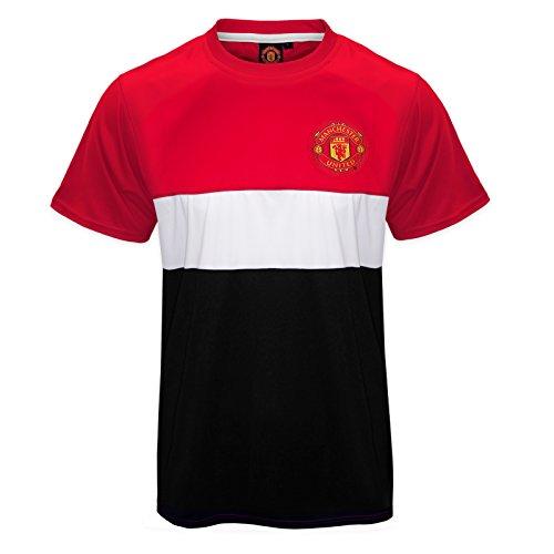 Manchester United FC - Camiseta oficial de entrenamiento - Para hombre - Poliéster - Rojo paneles - Medium
