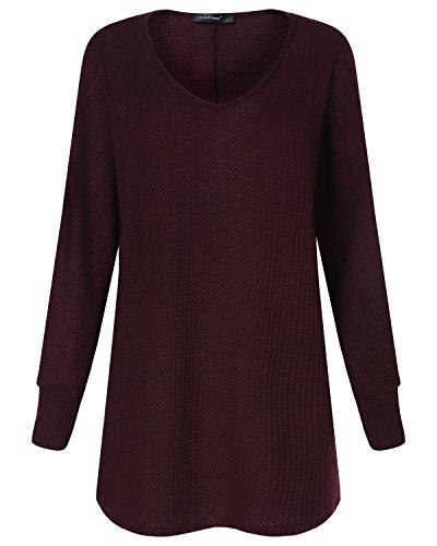 StyleDome Donna Maglietta Manica Lunga Collo V Moda Elegante T-Shirt Maglia Nuovo Top Bordeaux