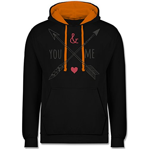 Valentinstag - You & Me Pfeile - Kontrast Hoodie Schwarz/Orange