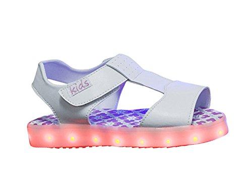 Genda 2Archer Baby enfants garçons filles été LED lumière sandales Chaussures Blanc