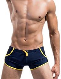 Demarkt® Sexy Maillot de bain en Nylon avec Poche Boxer Trunk Short Bref pour Homme - Couleur Bleu Fonce - Taille S/M/L