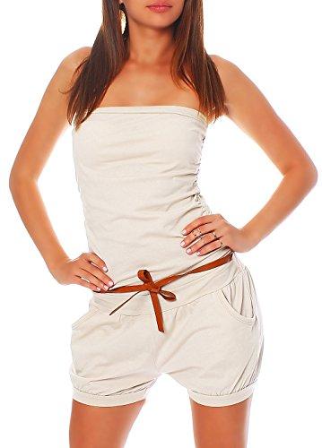 malito more than fashion Malito Damen Einteiler kurz in Unifarben   Overall mit Gürtel   schicker Jumpsuit   Romper - Playsuit - Hosenanzug 8964 (beige)