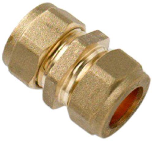 Bulk Hardware BH01539 15 mm Messing Druckringverbindungen Gerade (Packung à 5) Weiß 5 Stück
