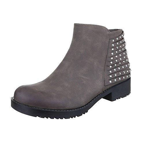 Komfort Stiefeletten Damen Schuhe Schlupfstiefel Blockabsatz Strass Besetzte Reißverschluss Ital-Design Stiefeletten Grau