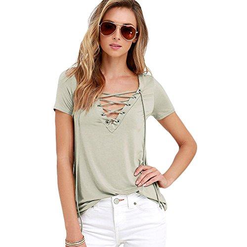meinice Lace-up maglietta con collo a v Khaki Large