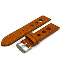 988fc91a553371 Grand Prix Quality Leather Watch Strap Coloured Stitching - 24mm Tan