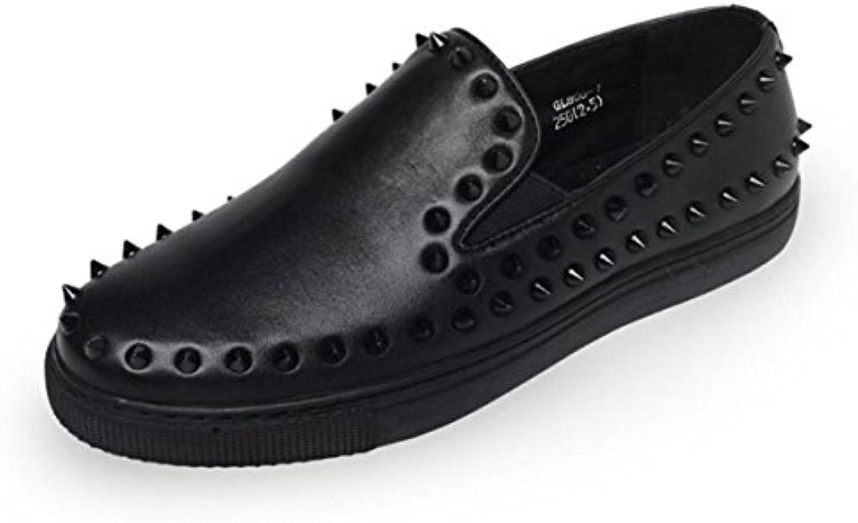 GRRONG Zapatos De Cuero De Los Hombres Del Ocio Cómodo De Cabeza Redonda Negro