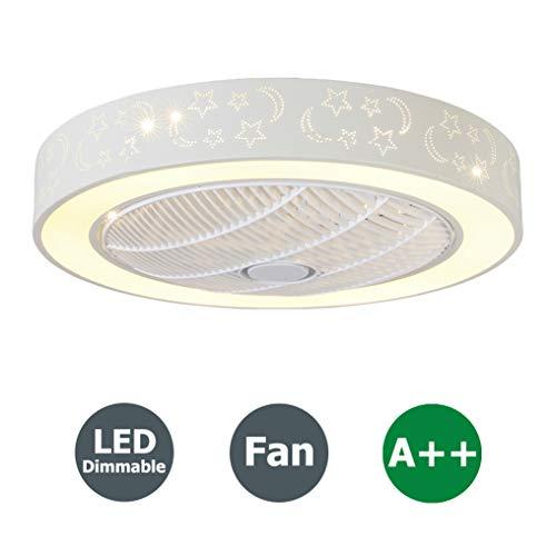 Fan Deckenventilator LED Deckenleuchte mit Fernbedienung Kreative Moderne Leise Deckenventilator Schlafzimmer Lampe Kinderzimmer Wohnzimmer Deckenventilator Beleuchtung Dimmbar Deckenlampe, Ø55cm, 96W - Ruhiges Mit Bad-fan Licht