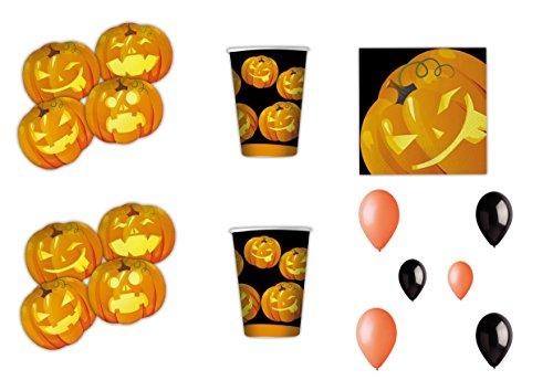 (Halloween Kürbis koordinierten Dekorationen Party–Kit N ° 15cdc- (40Teller, 40Gläser, 32Servietten, 25schwarzen Bälle, 25Bälle Orange))
