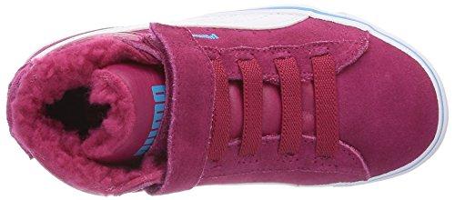 Puma Mid Vulc FUR V Kids 354143, Unisex - Kinder Hohe Sneakers Rot (cerise-white-blue atoll 09)