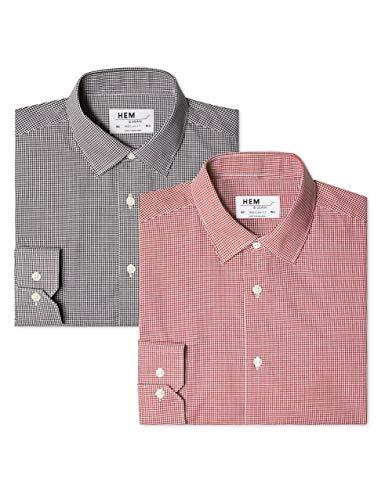 Hem & seam 2 pack regular fit, camicia business uomo, mehrfarbig (gingham black / gingham red), xl(pacco da 2)