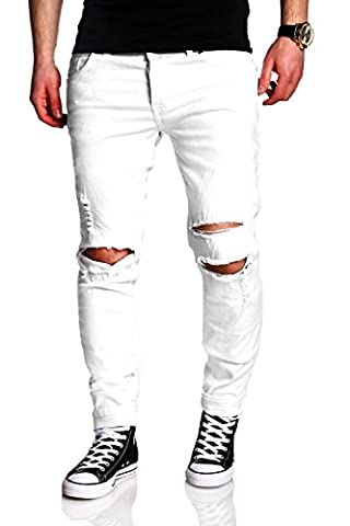 MT Styles Destroyed Jeans Slim Fit Jeans RJ-2021 [Weiß, W29/L32]