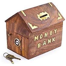 Gracias giving regalo para tus seres queridos, madera dinero banco cabaña forma, Oro Delfín con cerradura caja de moneda, dinero caja de almacenamiento.