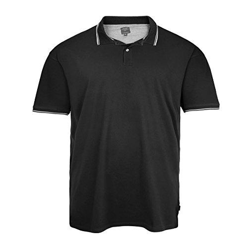 XXL Kitaro schwarzes Poloshirt mit Kontraststreifen Schwarz