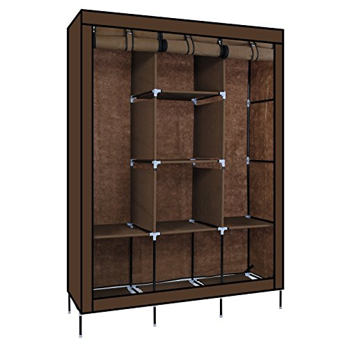 Karp Wardrobe Portable Storage Closet, Non-Woven Canvas Folding Fabric With Triple Doors - Coffee Color