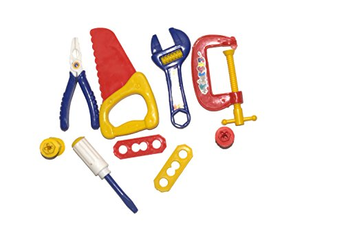 Unique Mini Toolkit Play Set for Kids Contains 9 Pieces Pretend Play Accessories, Including All Your Need for Worker in a Role Play Game.