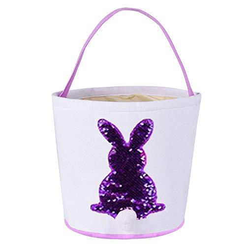 Osterkorb,Osterkörbe,Niedliche Pailletten Bunny Design Ostern Tasche Tuch Tote Handtasche Korb für Eier Süßigkeiten Geschenke Jagd Ostern Party Festival Supplies Lila