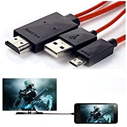 Padraig Micro USB to Hdmi 1080p Hdtv Adapter Cable, TV AV Cable Micro USB MHL to HDMI HDTV Adapter Compatible for All Samsung phones Micro USB - Assorted color