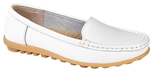 9af92f31f60 Womens Ladies Luxury Leather Loafers in White