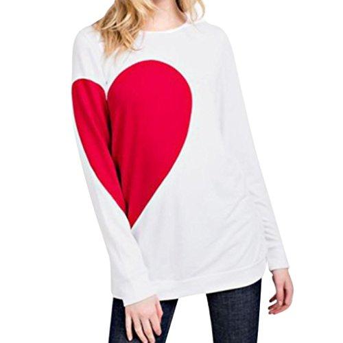 TEE, Herz bedruckt Bluse Damen T-Shirt Valentine 's Day Geschenk ubabamama Long Sleeve Tops (Crochet Trim Tunika)