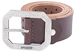 Spykar Mens Leather Belt (SPY/MBL/2AF36_DARK BROWN_medium)