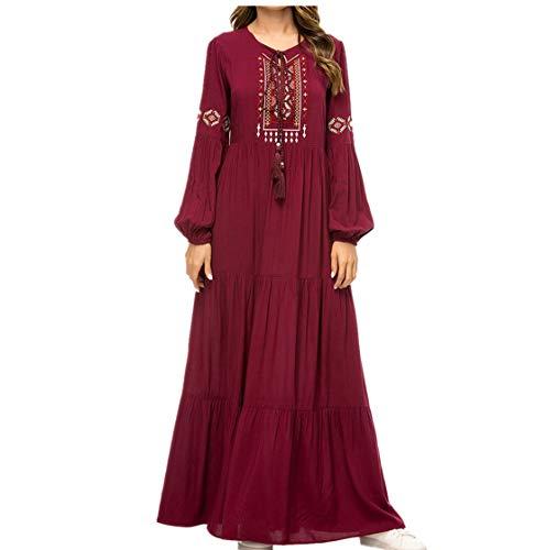Abaya Musulmana Kaftan Mujer Ropa - Vestidos Largos Casual Mango Maxi Elegante (3XL)