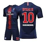 10# Neymar JR daSilvaSantosJúnior Jungen und Mädchen Kinder Erwachsene Männer und Frauen Trikots Fußball Fußball Shorts Hemd Weste Anzug-Blue-S