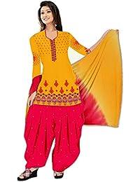 MAHI FASHION Women's Cotton Dress Material (MF07_Free Size_Multi-Coloured)