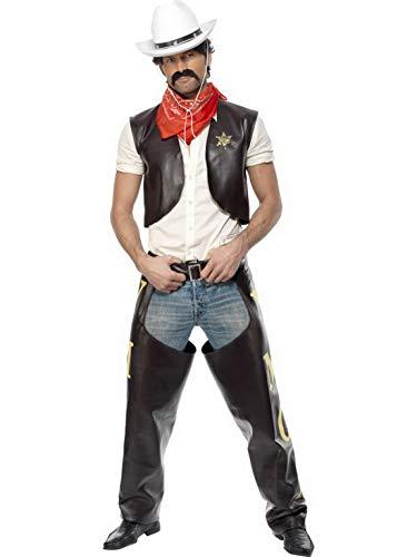 Village Kostüm People Cowboy - Halloweenia - Herren Männer Village People Cowboy Kostüm mit Weste, Chaps, Sherrif Stern und Halstuch, perfekt für Karneval, Fasching und Fastnacht, M, Schwarz
