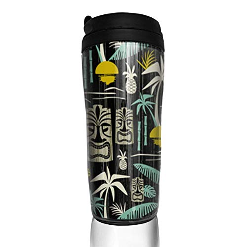 Travel Coffee Mug Island Tiki Black 12 Oz Spill Proof Flip Lid Water Bottle Environmental Protection Material ABS