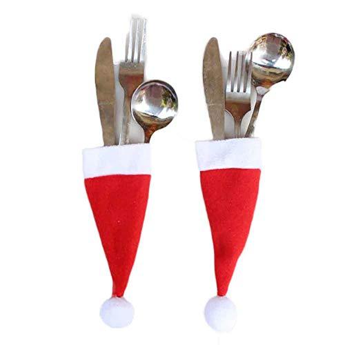 SamMoSon Set di Utensili per conservare Il Cappello di Natale da 12 Pezzi - 12pc Decorazioni Natalizie Cappelli Natalizi Cappelli di Tessuto Non Tessuto Cappelli di Natale e forchette
