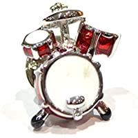Glam - Novelty Cufflinks/AJ XAJ206 - Gemelli a forma di batteria, colore: rosso
