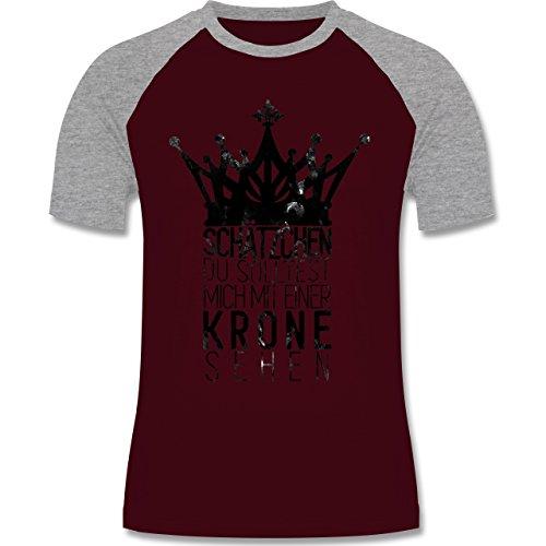 Shirtracer Statement Shirts - Du Solltest Mich mit Einer Krone Sehen - Herren Baseball Shirt Burgundrot/Grau meliert
