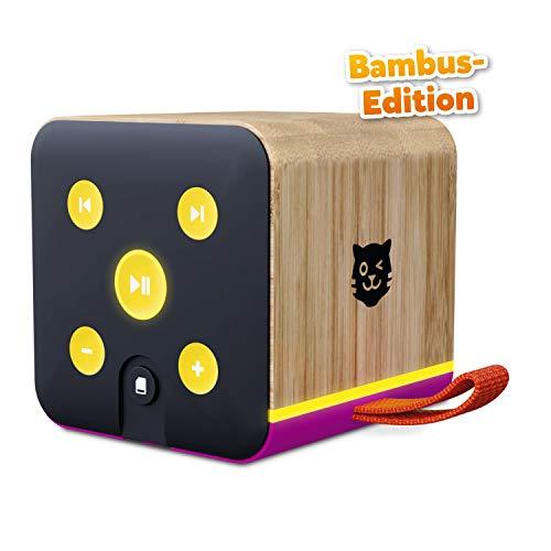 Lenco Tigerbox lila Bambus Edition, Bluetooth-Lautsprecher für Kinder, SD-Karten-Slot, Bambus-Gehäuse, inkl. 4 Wochen Premium-Zugang zu tigertones