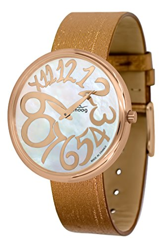 Moog Paris Ronde Art-Deco Women's Watch with White Mother of Pearl Dial, Copper Strap in Jeans - M41671-F41