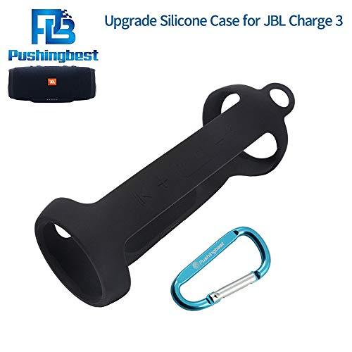 Silikon Hülle für JBL Charge 3, Pushingbest Silicone Case Cover Schlinge Tasche für JBL Charge 3 Black