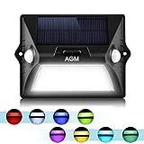 AGM Lámpara Solar Pared Exterior 12 LED Solar Bombilla con 3 Modos Seguridad Movimiento Sensor de Luz para Casa Luz Solar Exterior Hermosa para Decoración Jardín, Garaje, Patio y Terrazas