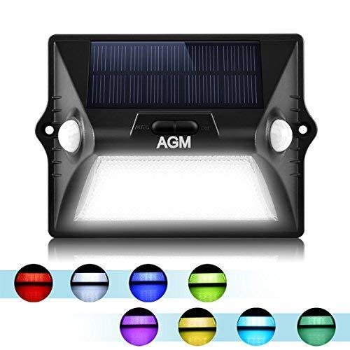 AGM Lámpara Solar Pared Exterior 12 LED Solar Bombilla con 3 Modos...