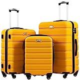 COOLIFE Hartschalen-Koffer Trolley Rollkoffer Reisekoffer mit TSA-Schloss und 4 Rollen (Gelb,...