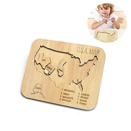 FOONEE Holz-Puzzle, USA-Karten-Puzzle, DIY Doppellagiges Holz-Puzzle, USA-Karten-Puzzle, Lernspielzeug, Geschenke für Kinder, Jungen und Mädchen